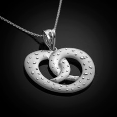 Sterling Silver Salted Pretzel Pendant Necklace