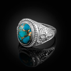 Sterling Silver Egyptian Ankh Cross Blue Copper Turquoise Statement Ring