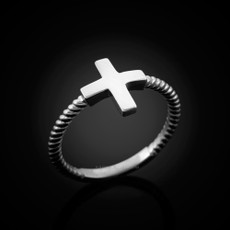Polished Sterling Silver Greek Cross Ladies Ring