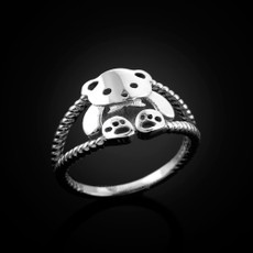 Sterling Silver Cute Teddy Bear Ladies Ring