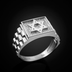 Mens Sterling Silver Star of David Ring