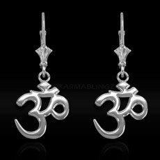 Sterling Silver Om (Aum) Mantra Yoga Earrings