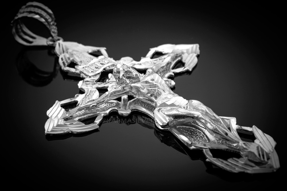 d7dfb3e987a7 ... Solid Sterling Silver XL Extra Large Mens Crucifix Cross Pendant. Image  1