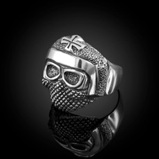 Sterling Silver Mens Maltese Cross Rebel Biker Ring