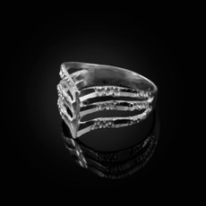 Triple Chevron Sterling Silver Nugget Ladies Ring
