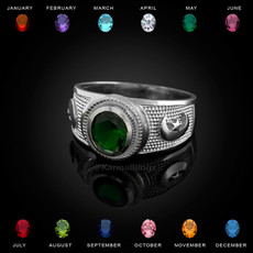 Sterling Silver Islamic Crescent Moon CZ Birthstone Ring