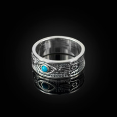 Sterling Silver Hamsa, Star of David, Evil Eye  Round Turquoise Unisex Band