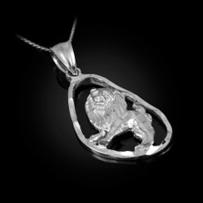 Sterling Silver Leo Zodiac Sign DC Pendant Necklace