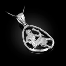 Sterling Silver Virgo Zodiac Sign DC Pendant Necklace