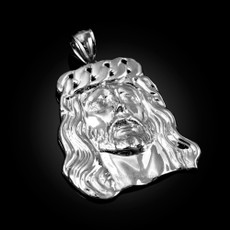 Sterling Silver Jesus Face Cuban Link Crown Polished Pendant
