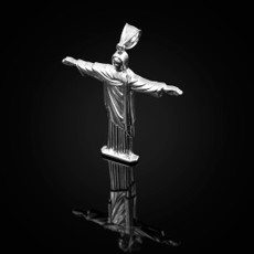Sterling Silver Jesus Christ The Redeemer Cross Brazil Rio Statue Pendant