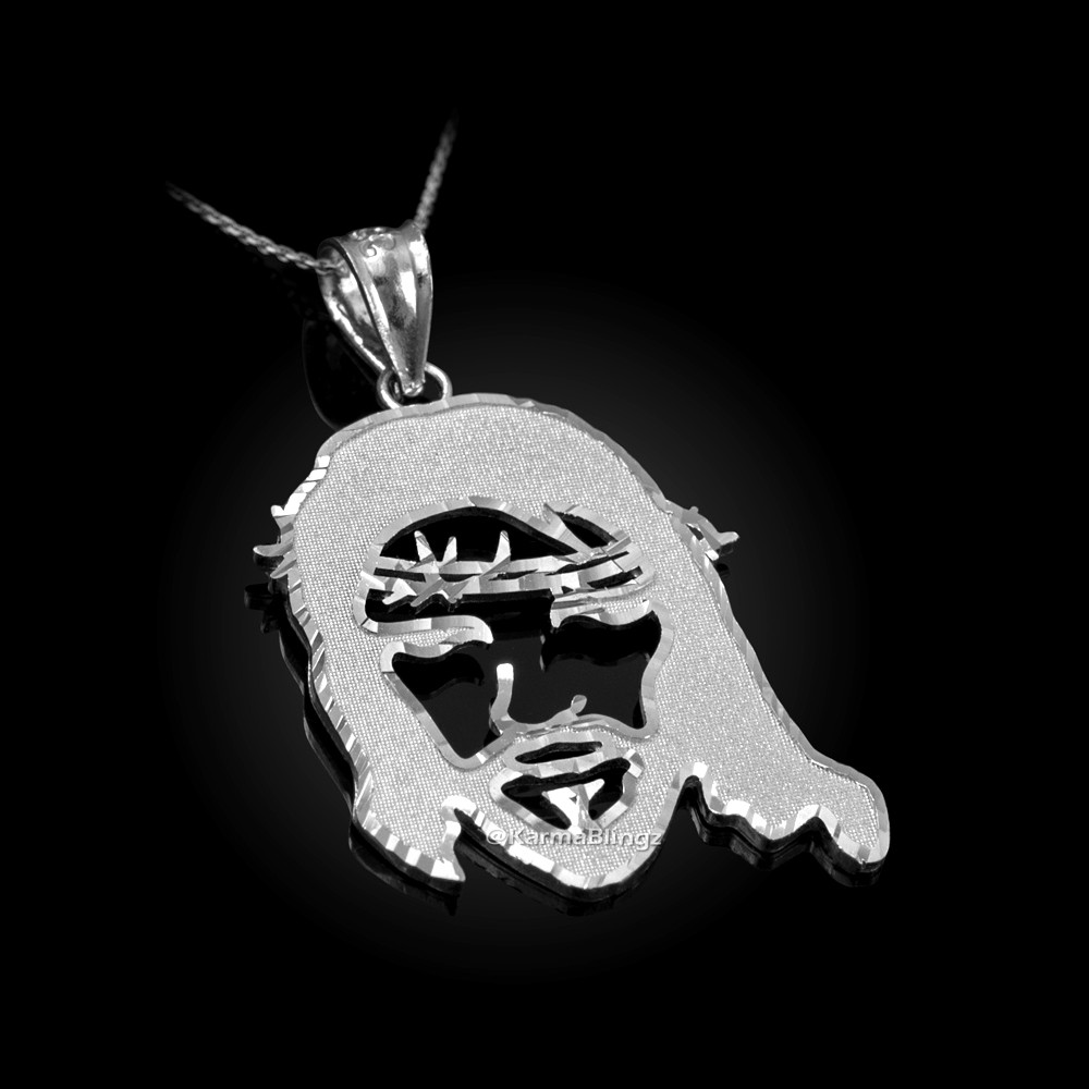 Sterling Silver Jesus Charm Pendant Necklace Diamond Cut Finish with Chain