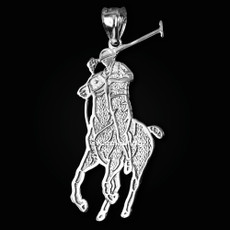 Sterling Silver Polo Horse Rider Sports Pendant