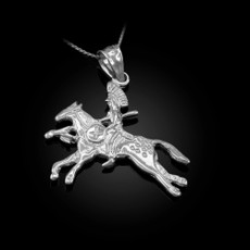 Sterling Silver Indian Chief Horse Rider Pendant Necklace