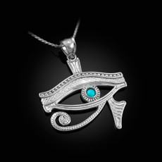 Sterling Silver Eye Of Horus Turquoise Pendant Necklace