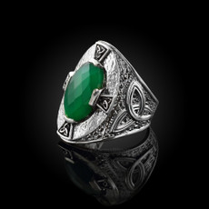Sterling Silver Celtic Band Green Agate Checker Cut Ring