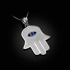 Sterling Silver Hamsa Blue CZ Evil Eye Pendant Necklace
