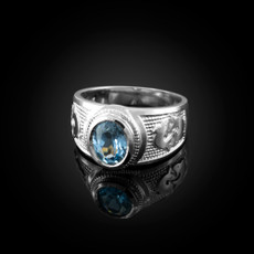 Sterling Silver Pisces Zodiac Sign March Birthstone Aqua CZ Ring