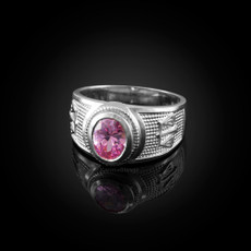 Sterling Silver Libra Zodiac Sign October Birthstone Pink CZ Ring