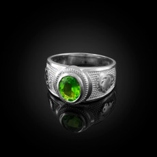 Sterling Silver Leo Zodiac Sign August Birthstone Green CZ Ring