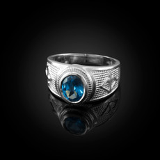 Sterling Silver Sagittarius Zodiac Sign December Birthstone Blue CZ Ring
