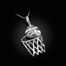 Sterling Silver Basketball Hoop DC  Pendant Necklace
