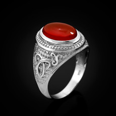 Sterling Silver Celtic Trinity Red Onyx Statement Ring