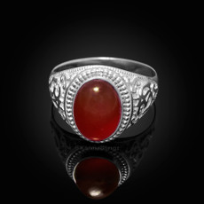 Sterling Silver Om Oval Cabochon Red Onyx Mens Yoga Ring