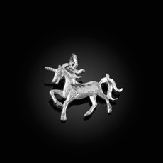 Sterling Silver Galloping Unicorn DC Charm Necklace