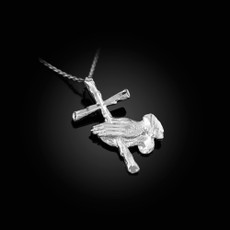 Sterling Silver Praying Hands Cross DC Charm Necklace