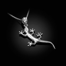 Polished Sterling Silver Salamander Lizard Charm Necklace