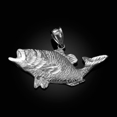 Sterling Silver DC Textured Sea Bass Fish Pendant