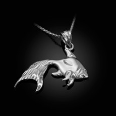 Polished DC Sterling Silver Goldfish Pendant Necklace