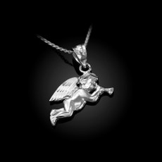 Polished Sterling Silver Trumpeting Angel DC Charm Necklace