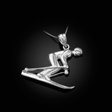Sterling Silver Male Alpine Skier Pendant Necklace