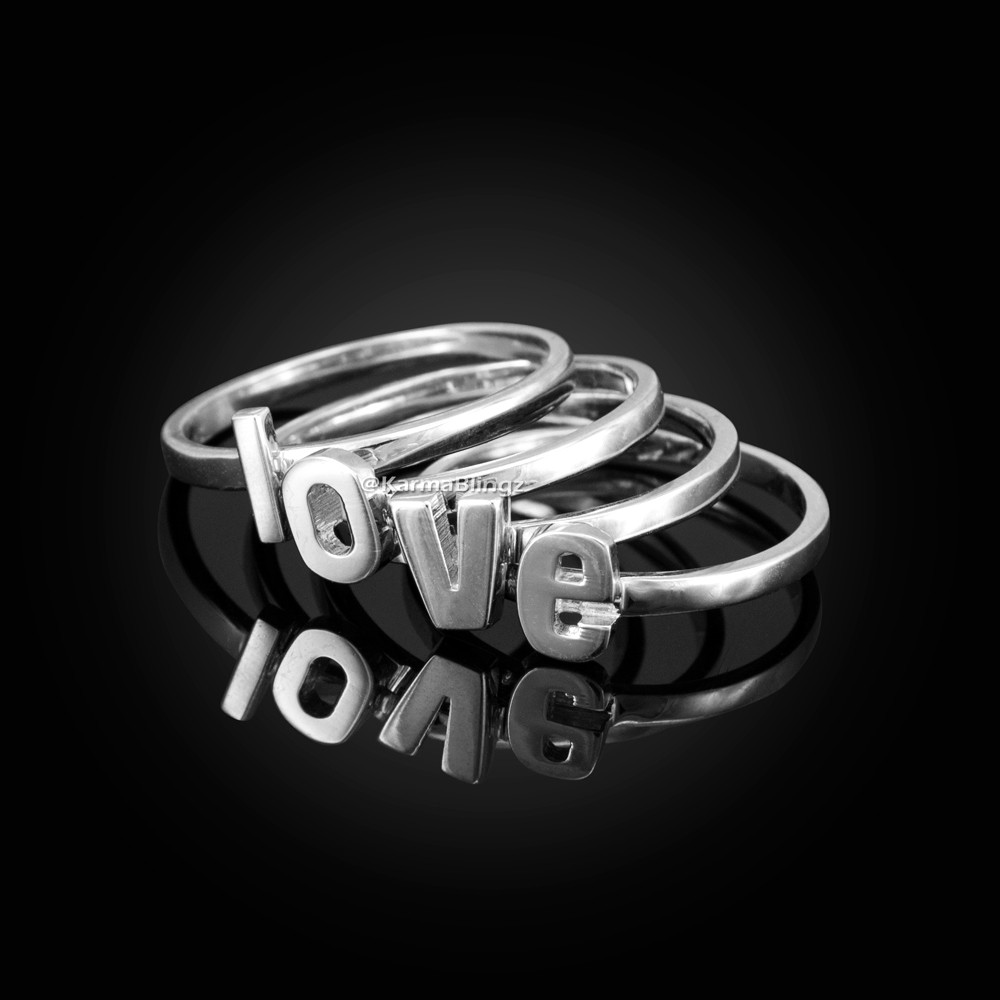 be8f0d83214a9 ... Sterling Silver Personalized Initial Alphabet Letter Stackable Ring.  Image 1