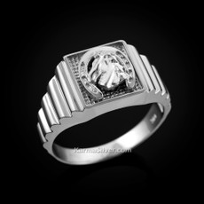 Sterling Silver Lucky horseshoe Square Mens Religious Ring