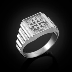 Sterling Silver Jerusalem Cross Men's Ring