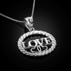 Sterling Silver Love Hearts Round Rope Pendant Necklace