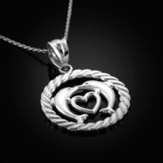 Sterling Silver Heart Kissing Dolphins Round Rope Pendant Necklace