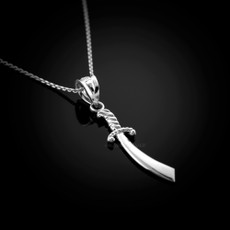 Polished Sterling Silver Scimitar Sword Charm Necklace