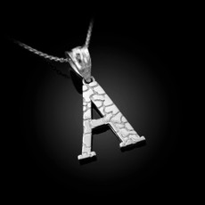 "Sterling Silver Nugget Initial Letter ""A"" Pendant Necklace"