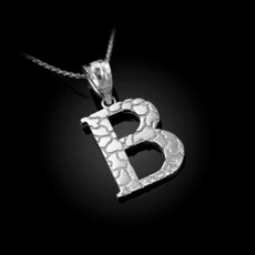 "Sterling Silver Nugget Initial Letter ""B"" Pendant Necklace"