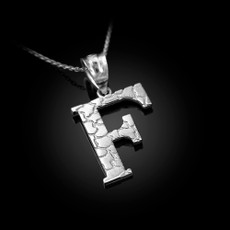"Sterling Silver Nugget Initial Letter ""F"" Pendant Necklace"