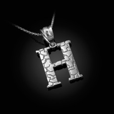 "Sterling Silver Nugget Initial Letter ""H"" Pendant Necklace"