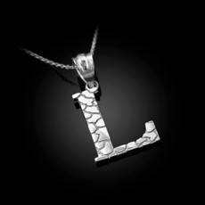 "Sterling Silver Nugget Initial Letter ""L"" Pendant Necklace"