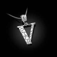 "Sterling Silver Nugget Initial Letter ""V"" Pendant Necklace"