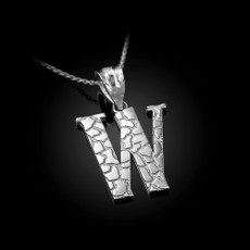 "Sterling Silver Nugget Initial Letter ""W"" Pendant Necklace"
