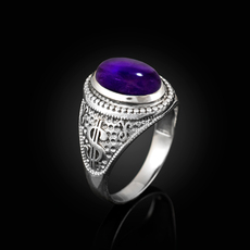 Sterling Silver Cash Money Dollar Sign Purple Amethyst Statement Ring