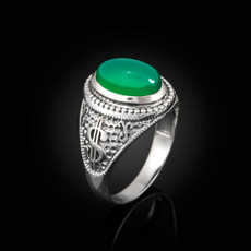 Sterling Silver Cash Money Dollar Sign Green Onyx Statement Ring